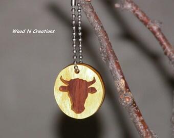 Key Chain with Wooden Bull Skull Pendant