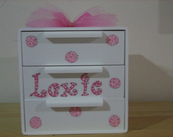 Personalized Flower Girl Jewelry Box- Pink Polka Dots- Custom Colors Birthday ,Communion , Christening, Newborn Gift