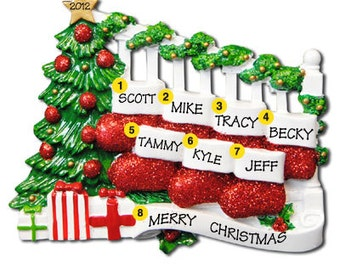 Personalized Christmas Family Stocking Ornaments- Ideal for a family of seven people, couple, grandkids,friends co-workers