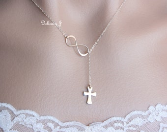 Cross and infinity lariat necklace in Sterling Silver, infinity necklace, cross necklace mother day gift baptism gift christmas gifts