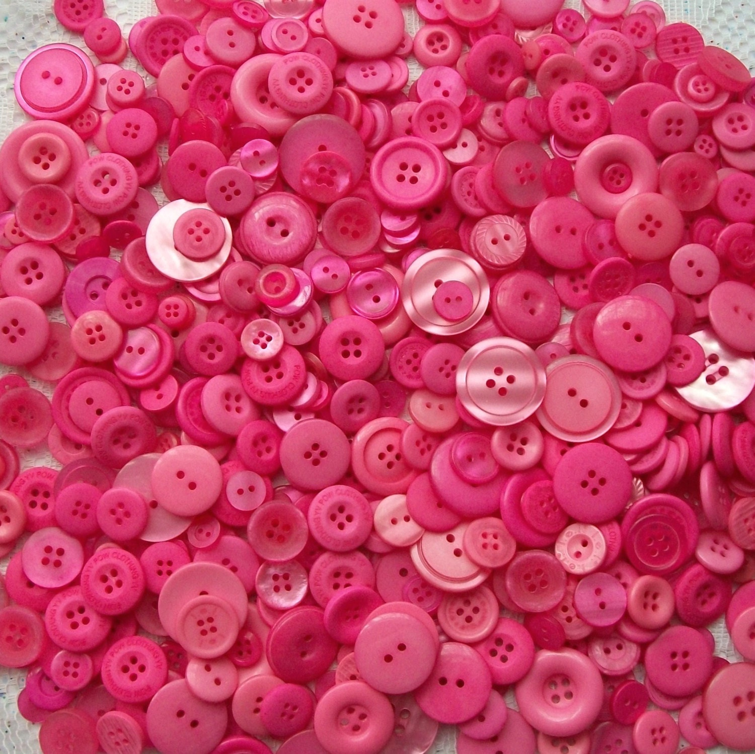 50 Bright Pink Buttons Brilliant Pink assorted sizes Sewing