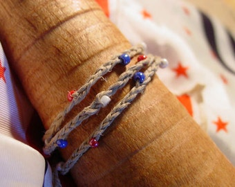 Braided  red, white and blue beads natural hemp wrap bracelet and/or anklet