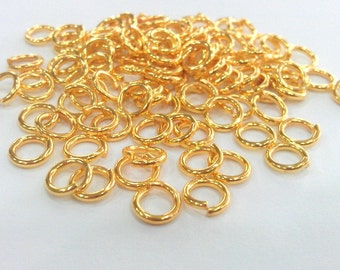 20 Pcs (7 mm) Gold Plated Brass Strong  jumpring ,Findings G680