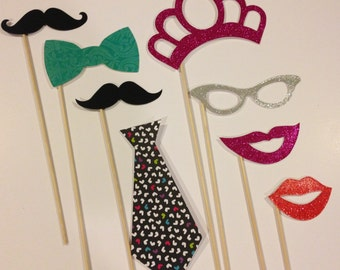 His and hers glitter photo booth prop set 12 pieces