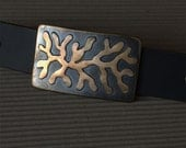 "ROOTS Belt Buckle Organic Hypoallergenic Freeform Bronze on Stainless Steel Belt Buckle Canadian Design by Robert Aucoin Fits 1-1/2"" Belt"