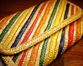 Vintage Straw Clutch Purse, Multi Colored, Straw, Spring, Summer, Envelope, Clutch, Hong Kong, Retro, Red,Green,Blue,Yellow, Orange, Natural