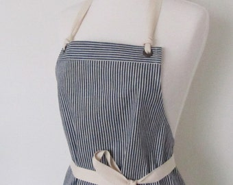 Full Denim Apron - Woman - Indigo Stripes - Hickory Stripe - Utility - Crafter - Work