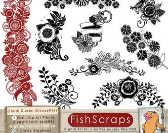 Retirement - Flower Silhouette Clip Art,  Accent Digital Stamp Floral ClipArt (PNG) & Photoshop Brushes , Instant Download