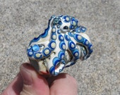 Reserved for Charles - Large-Hole Blue-Ringed Octopus Lampwork Dreadlocks Bead- SRA