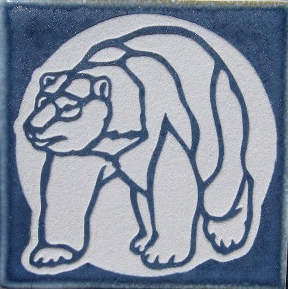 4x4 Polar Bear Etched Porcelain Tile - Coaster - SRA