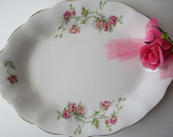 Vintage Stinthal China Pink Green Serving Platter - Cottage Chic