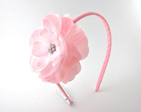 Light Pink Rhinestone Rose Flower Headband