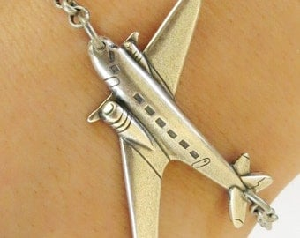 Steampunk Airplane Bracelet/Anklet- Sterling Silver Ox Finish