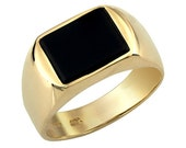 Black Rectangle Onyx Men's 14k 1950's Inspired Cocktail Ring