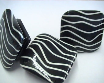 Cabinet KNOBS - BLACK & WHITE Crooked Stripes Design - 2 in. Square Drawer Pull