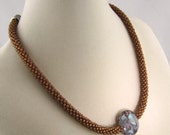 Copper Beaded Kumihimo Necklace