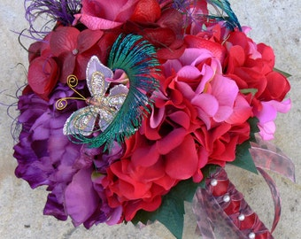 Bridal Wedding Bouquet with Free choice of Boutonniere, Pink, Red and Purple hues - Special Spring Sale Priced - Ready to Ship