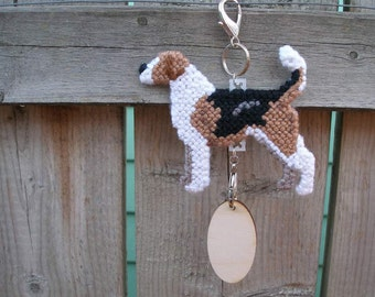English Foxhound crate tag dog art hang anywhere, Magnet option, hand stitched original art by canine artist