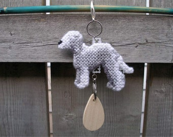 Bedlington Terrier crate tag dog art hang anywhere, Magnet option, hand stitched original art by canine artist