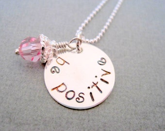 Handstamped necklace be positive womans jewelry sterling silver girls pendant inspirational pink crystal