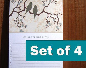Birthday Calendar, Set of 4, Office Gift, Hostess Thank You