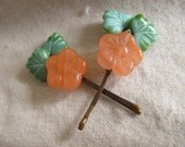 Glass Bead Bobby Pins- Peach Blosson