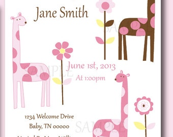 Modern Giraffe, PInk and Brown Baby Shower or Birthday Invitations, Set of 10 professionally Printed