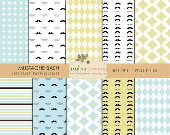 Instant Download - Mustache Digital Papers, Little Man, Mustache, Lime, Aqua, 8.5x11 Digital Papers
