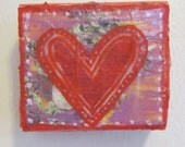 Wood Block with Heart  - Valentine's Present - Red and Purple