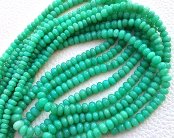 Brand NEW, Rare Deep CHRYSOPRASE Smooth Rondells of Size 4-6mm, Full 16 Inch Long Strand, Very Very RARE Quality at Manufacturers price