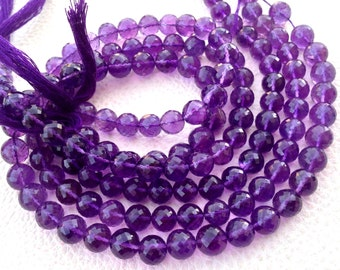 Brand New, Full 14 Inch Strand PURPLE AMETHYST Faceted Balls,6mm,Amazing Item at Low price,Superb Quality