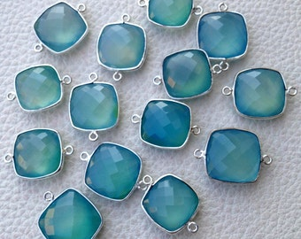 5 Pieces,925 Sterling Silver, Peruvian Aquamarine Blue Chalcedony ,Sterling Silver Connector, 14-15mm