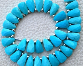 Brand New, 1/2 Strand, Natural SLEEPING BEAUITY TURQUOISE Faceted Pyramid Shape Briolettes,10x6mm size,Superb Item at Low Price