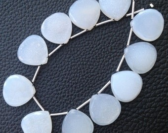 3 Matched Pairs, WHITE DRUZY Faceted Heart Shape Briolettes, 15mm Long,Super Quality,Faceted EDGES Special