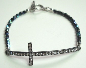 Sideways Cross Bracelet  Jet Black Fire Polish Crystal