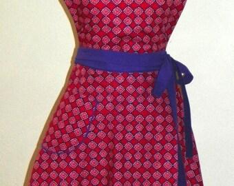 Retro Style Double Skirt Bib Apron Red Rustic Tile