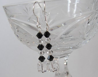 Crystal Dangle Earrings, Swarovski Crystal Earrings, Black & Clear Crystals, Chic Stick Earrings, Straight Dangle Earrings, Sterling Silver