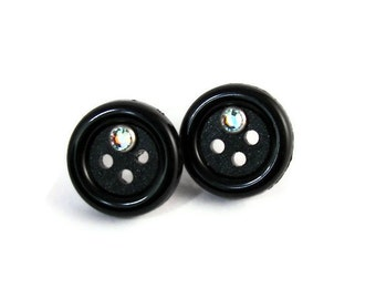 Black Button Stub Post Swarovski Crystal earrings