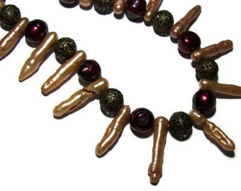 Unique Bohemian Necklace, Centipede Necklace, Stick Pearl Necklace, Red Boho Jewelry, Bohemian Jewellry, Nature Inspired Jewelry