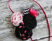 Know Every Angle- triple rosette with chevron and ruffle ribbon in black, white & hot pink