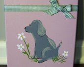 Girl Doggie Smells a Flower