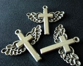 Destash (3) Winged Cross Charms - for pendants, jewelry making, crafts, scrapbooking