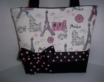 Paris Eifel Tower Fabric Handbag Purse Tote