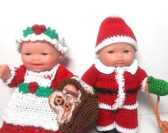 Berenguer Santa and Mrs. Santa Dolls, Santa Doll, Mrs. Santa Doll with Gingerbread Boys