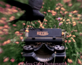 Typewriter Photograph, Photo, Edgar Allan Poe, Photography, Raven, Poetry, Writer, print, photo, picture, field, flowers, gift, author, keys