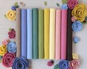 Wool Felt // Secret Garden //Merino Felt, Felt Assortment, Felt Flowers, DIY Felt Supply, Felt Sheets, Color Palette, Merino Felt Collection