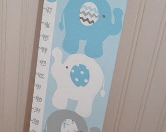 Wooden Growth Chart- Personalized and Handpainted- COOL ELEPHANTS Theme