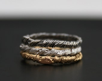 Beading hysteria - ONE solid gold OR silver narrow ring