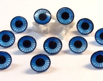 16mm Blue Doll Eyes VINTAGE Plastic EYES Crystal Cut Rimmed Six (6) Pairs Owl Eyes Vintage Doll Parts Jewelry Doll Supplies (Y81)