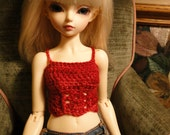 Red Chrochet Top Sweater Slim MSD